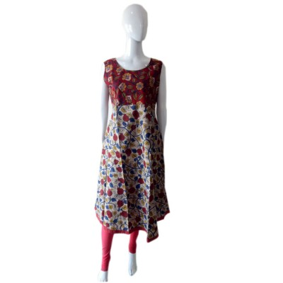 RS Fashions Maroon Cotton Kalamkari Straight Kurta