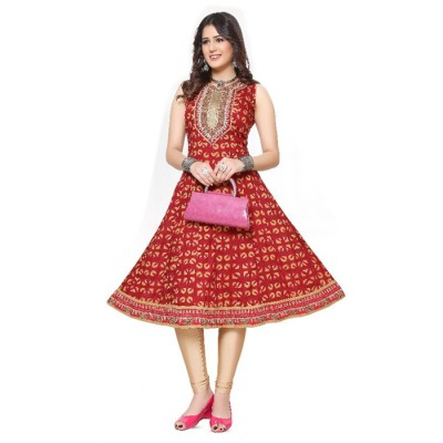RS Fashions Maroon Cotton Printed Anarkali Kurta
