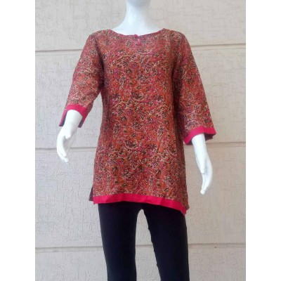 RS Fashions Maroon Rayon Kalamkari Regular Top