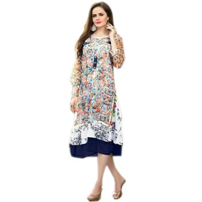 RS Fashions Multi Colour Georgette Printed Flared Kurta