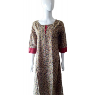 RS Fashions Multi Colour Cotton Kalamkari Straight Kurta