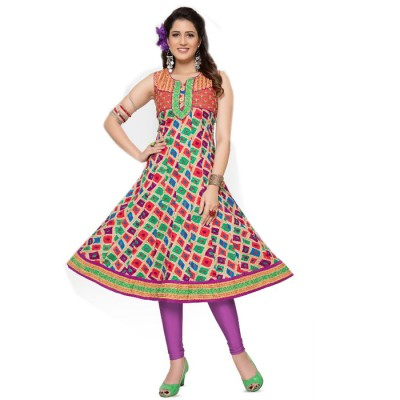 RS Fashions Multi Colour Cotton Printed Anarkali Kurta