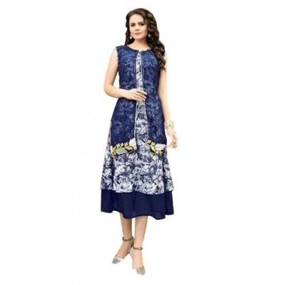 RS Fashions Navy Blue Georgette Printed Flared Kurta
