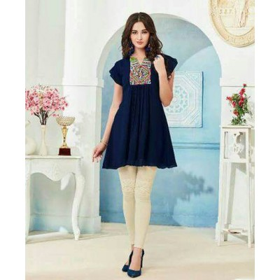 RS Fashions Navy Blue Georgette Solid Regular Top