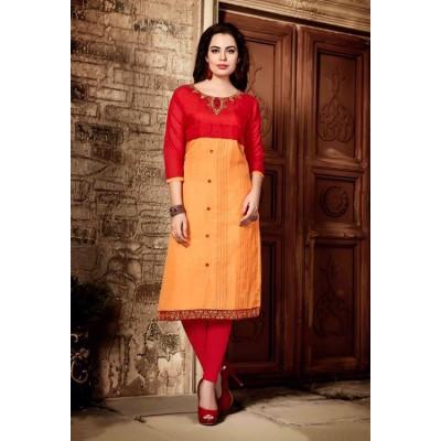 RS Fashions Orange & Red Chanderi Embroidered Straight Kurta