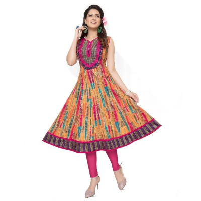 RS Fashions Orange Cotton Printed Anarkali Kurta