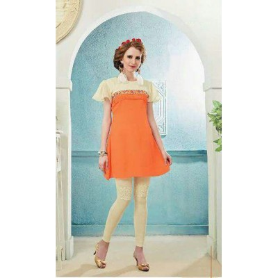 RS Fashions Orange Georgette Solid Regular Top