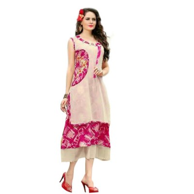 RS Fashions Pink Georgette Printed Flared Kurta