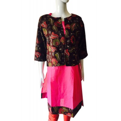 RS Fashions Pink Cotton Kalamkari Straight Kurta