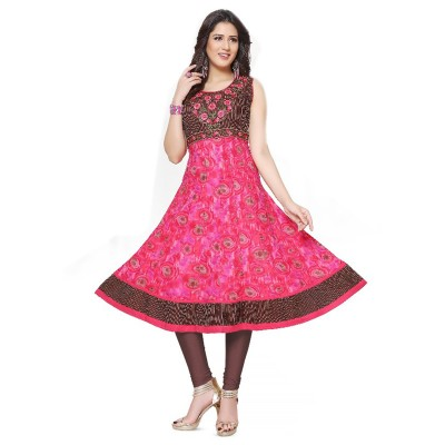 RS Fashions Pink Cotton Printed Anarkali Kurta