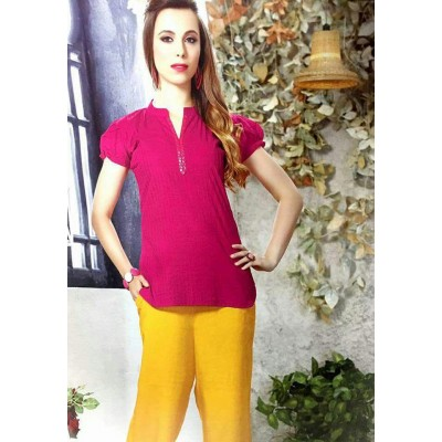 RS Fashions Pink Cotton Solid Regular Top