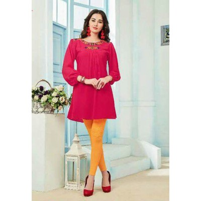 RS Fashions Pink Georgette Solid Regular Top