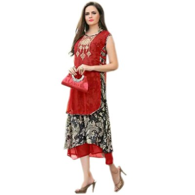 RS Fashions Red Georgette Printed Flared Kurta