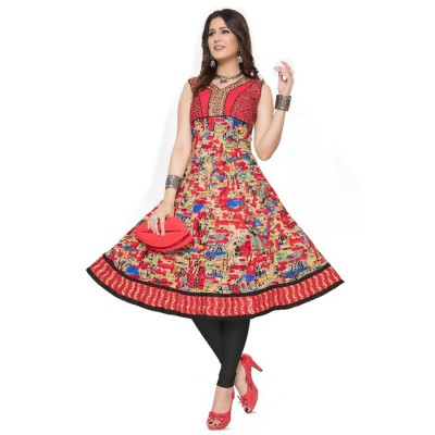 RS Fashions Red Cotton Printed Anarkali Kurta