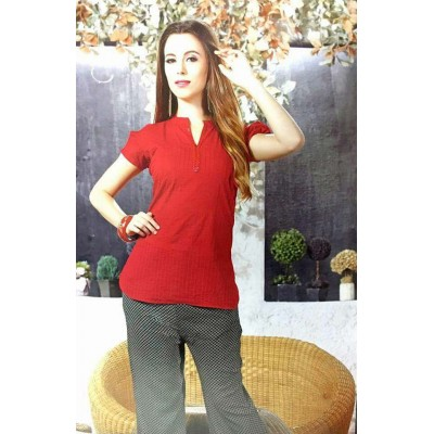 RS Fashions Red Cotton Solid Regular Top