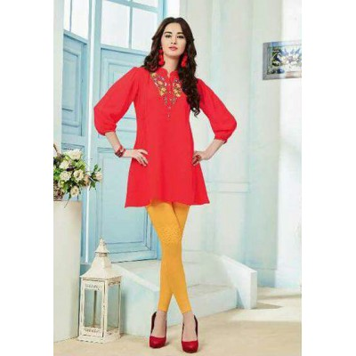 RS Fashions Red Georgette Solid Regular Top