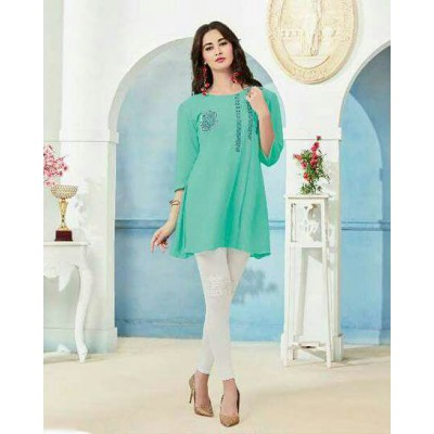 RS Fashions Sea Green Georgette Solid Regular Top
