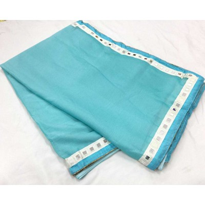 RS Fashions Sky Blue Chiffon Mirror worked Saree