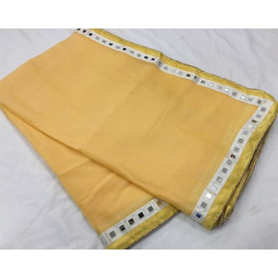 RS Fashions Yellow Chiffon Mirror worked Saree