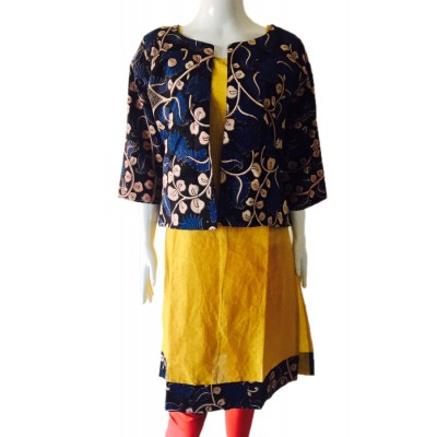 RS Fashions Yellow Cotton Kalamkari Straight Kurta