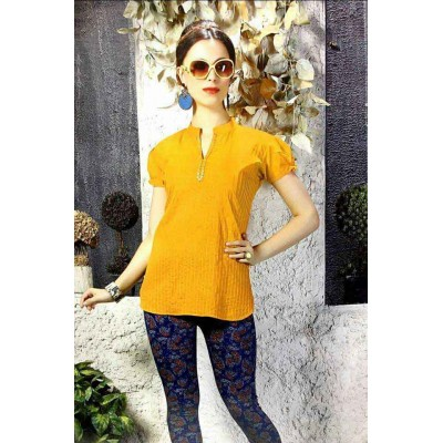 RS Fashions Yellow Cotton Solid Regular Top