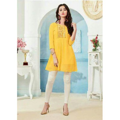 RS Fashions Yellow Georgette Solid Regular Top