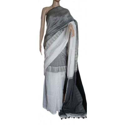Olives boutique Ash and White Cotton Jacquard designed Khadi Handloom Saree