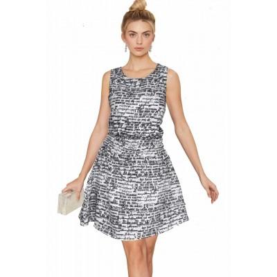 ERA Art Off White American Crepe Printed Skater Dress