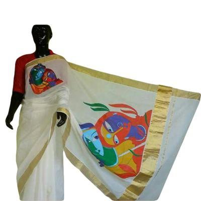 Avanthika Off White Kerala Kasavu Cotton Radhakrishna Mural Painted Saree