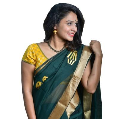 Avanthika Dark Green Cotton Silk Mural Painted Saree