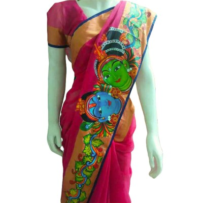 Avanthika Pink Cotton Silk Mural Painted Saree