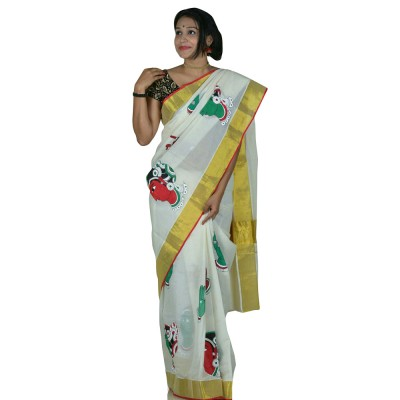 Avanthika Off White Kerala Kasavu Cotton Mural Painted Saree