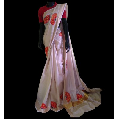 Avanthika Off White Tissue Silk Sun flower Mural Painted Saree