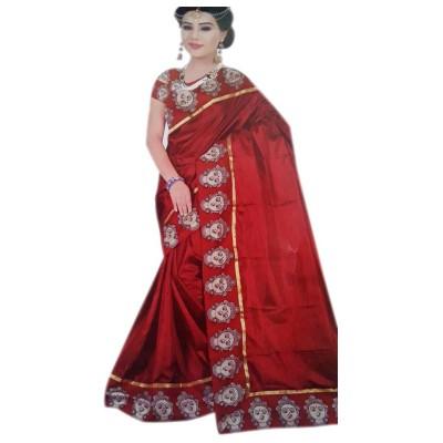 Vinayaka Maroon Satin Printed Saree