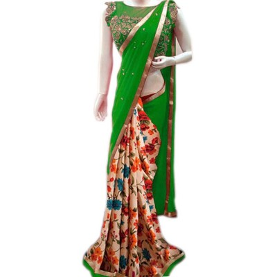 Vinayaka Green Georgette Printed Saree