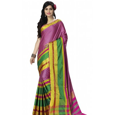Vinayaka Pink Cotton Silk Saree