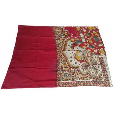 Vinayaka Maroon Silk Kalamkari Printed Saree