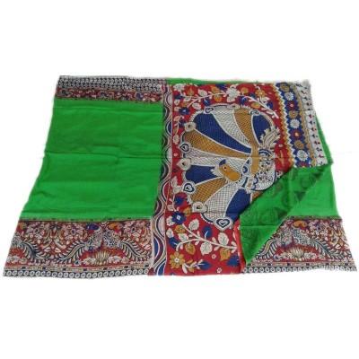 Vinayaka Green Silk Kalamkari Printed Saree
