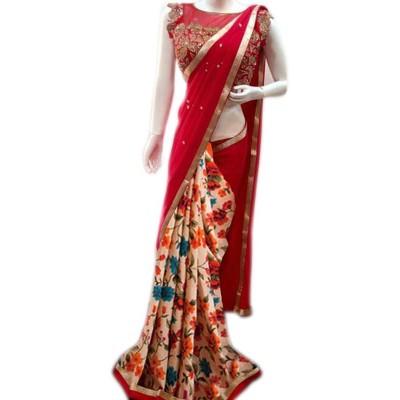 Vinayaka Red Georgette Printed Saree