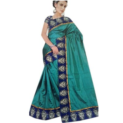 Vinayaka Blue Satin Printed Saree