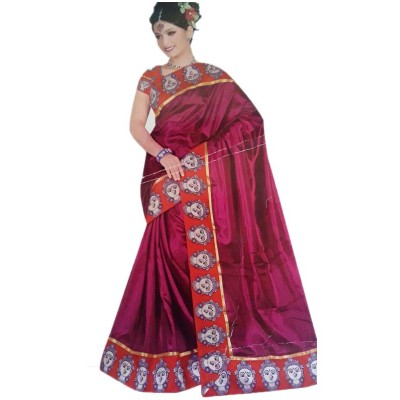 Vinayaka Magenta Satin Printed Saree
