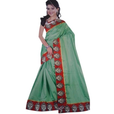Vinayaka Sea Green Satin Printed Saree