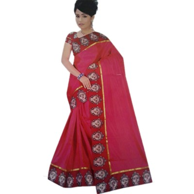 Vinayaka Pink Satin Printed Saree