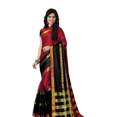 Vinayaka Red Cotton Silk Zari Bordered Saree