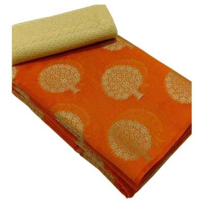 Vinayaka Orange Cotton Embroidered Saree
