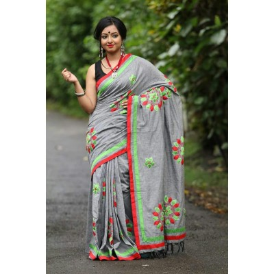 Priya Sarees Grey Cotton Applique Worked Pure Handloom Saree