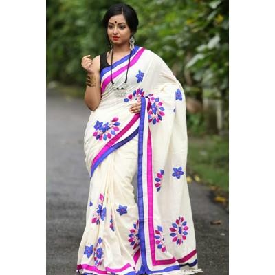Priya Sarees White Cotton Applique Worked Pure Handloom Saree