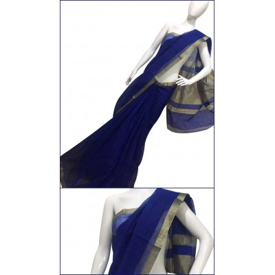 Priya Sarees Navy Blue Cotton Manipuri doriya Saree