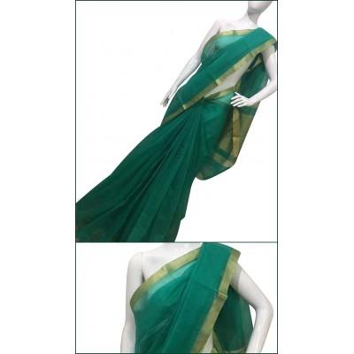Priya Sarees Sea Green Cotton Manipuri doriya Saree