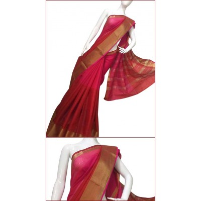 Priya Sarees Red Cotton Manipuri doriya Saree